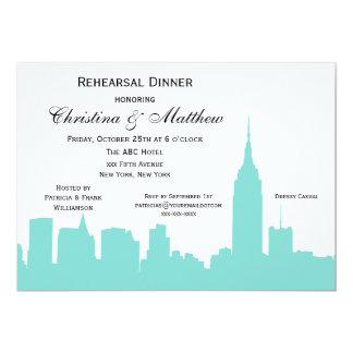 NYC Aqua Skyline Silhouette Rehearsal Dinner 5x7 Paper Invitation Card