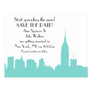 NYC Aqua Skyline Silhouette Save the Date Postcard