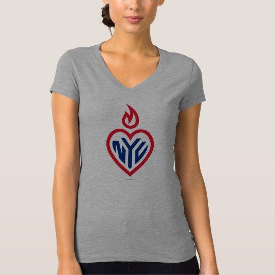NYC Bella Jersey V-Neck - Gotham Heart - New York T-Shirt