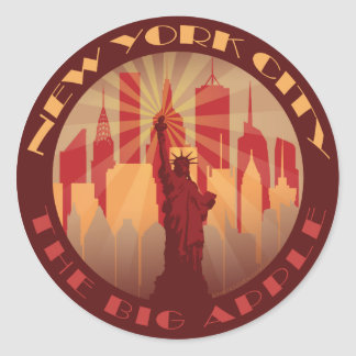 NYC Big Apple Hot Classic Round Sticker