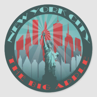 NYC Big Apple Round Classic Round Sticker
