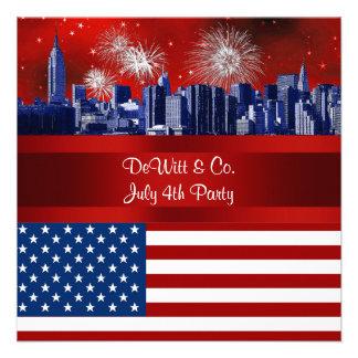 NYC Blue Etched Skyline ESB USA Flag Red W Blue 3 Custom Announcement