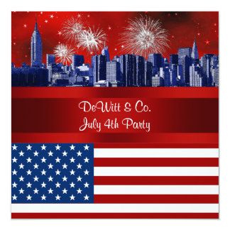 NYC Blue Etched Skyline ESB USA Flag Red W Blue #3 5.25x5.25 Square Paper Invitation Card