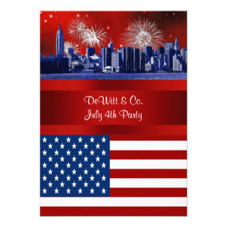 NYC Blue Etched Skyline ESB USA Flag Red W Blue 3 Custom Invitation