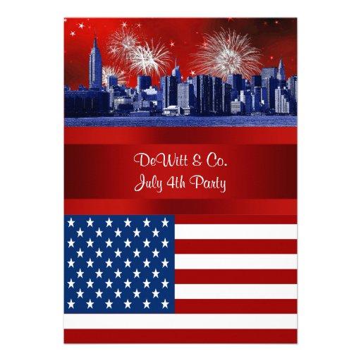 NYC Blue Etched Skyline ESB USA Flag Red W Blue #3 Custom Invitation