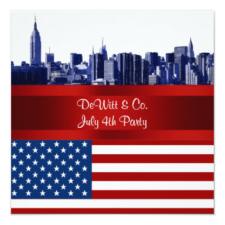 NYC Blue Etched Skyline ESB USA Flag Red W Blue 5.25x5.25 Square Paper Invitation Card