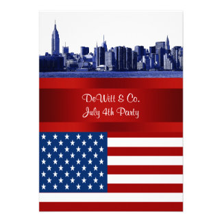 NYC Blue Etched Skyline ESB USA Flag Red W Blue Personalized Invitation
