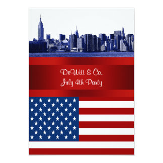 NYC Blue Etched Skyline ESB USA Flag Red W Blue 5x7 Paper Invitation Card