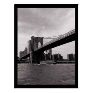 NYC Brooklyn Bridge B&W Postcard
