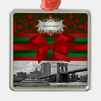 NYC Brooklyn Bridge Red Green Damask Bow Xmas Silver-Colored Square Decoration