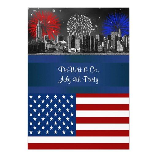 NYC BW  Etched Skyline ESB USA Flag Red W Blue #4 Custom Announcements