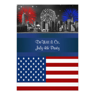 NYC BW Etched Skyline ESB USA Flag Red W Blue 4 Custom Announcements