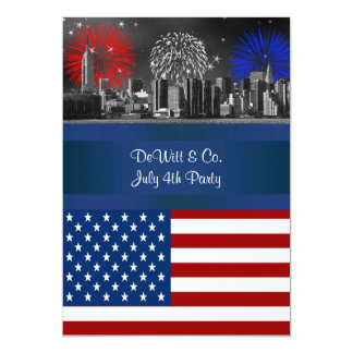 NYC BW  Etched Skyline ESB USA Flag Red W Blue #4 5x7 Paper Invitation Card