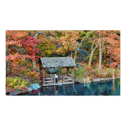 NYC Central Park Autumn, The Lake & Little Dock Business Card Templates