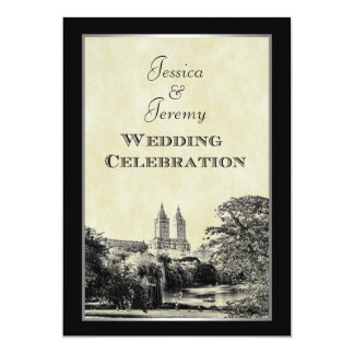 NYC Central Park Lake San Remo Etched Frm Wedding 13 Cm X 18 Cm Invitation Card