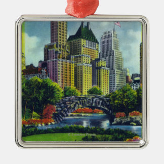 NYC Central Park View of 5th Ave Hotels Christmas Ornament