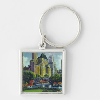 NYC Central Park View of 5th Ave Hotels Silver-Colored Square Key Ring