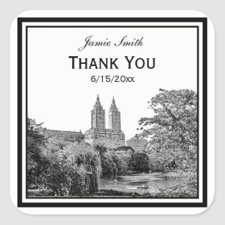NYC Centrl Pk Lake San Remo Etched SQ Thank You Square Stickers