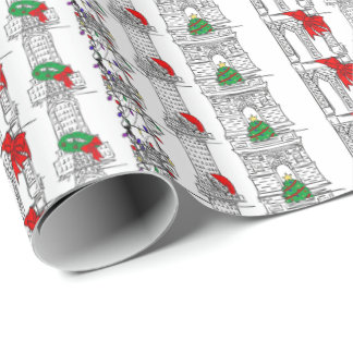 NYC Christmas Xmas New York Landmarks Gift Wrap Wrapping Paper
