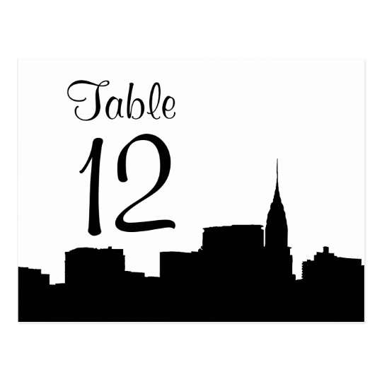 NYC Chrys Skyline Silhouette Blk Wht Table Number Postcard