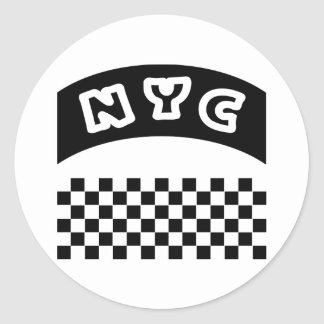 NYC Cutout With Taxi Checkerboard And Banner Classic Round Sticker