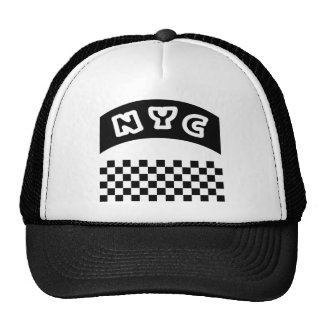 NYC Cutout With Taxi Checkerboard And Banner Hat