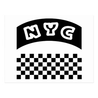 NYC Cutout With Taxi Checkerboard And Banner Postcard