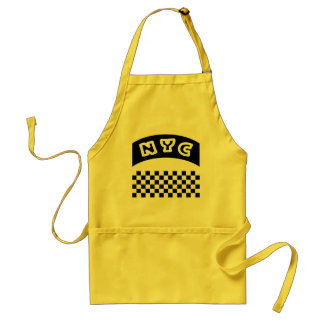 NYC Cutout With Taxi Checkerboard And Banner Standard Apron