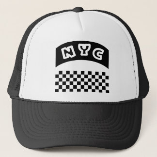 NYC Cutout With Taxi Checkerboard And Banner Trucker Hat