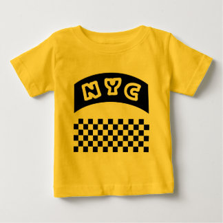 NYC Cutout With Taxi Checkerboard And Banner Tshirts