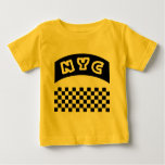 NYC Cutout With Taxi Chequerboard And Banner Tshirts