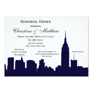 NYC Dark Blue Skyline Silhouette Rehearsal Dinner 13 Cm X 18 Cm Invitation Card