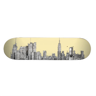 NYC drawing in cream ivory Skateboard Decks
