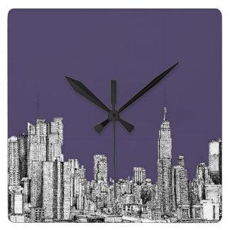NYC drawing in lilac purple Wallclocks