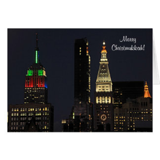 NYC Empire State Bldg In Christmas Hanukkah colour Greeting Cards