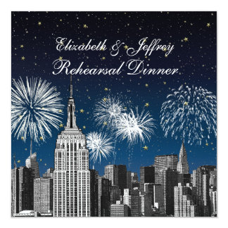 NYC ESB Skyline Blue Star Firewks Rehearsal Dinner 13 Cm X 13 Cm Square Invitation Card