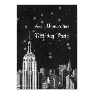 NYC ESB Skyline Etched Black Starry Birthday V Card