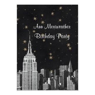 NYC ESB Skyline Etched Black Starry Birthday V 5x7 Paper Invitation Card