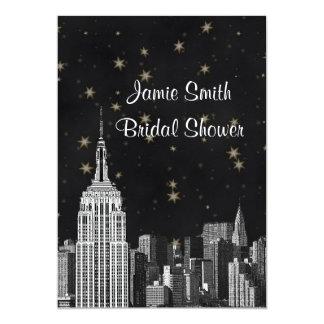 NYC ESB Skyline Etched Black Starry Bridal Showr V 13 Cm X 18 Cm Invitation Card