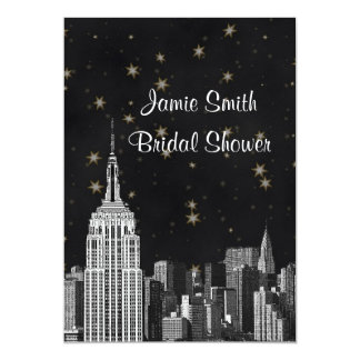 NYC ESB Skyline Etched Black Starry Bridal Showr V Card