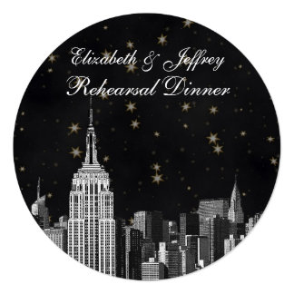NYC ESB Skyline Etched Black Starry Rehearsal Din 13 Cm X 13 Cm Square Invitation Card