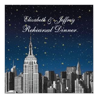 NYC ESB Skyline Etched Blue Star Rehearsal Dinner Card