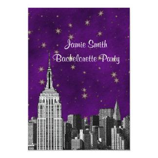 NYC ESB Skyline Etched Purpl Starry Bachelorette V 13 Cm X 18 Cm Invitation Card