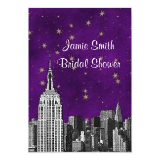NYC ESB Skyline Etched Purpl Starry Bridal Showr V 13 Cm X 18 Cm Invitation Card