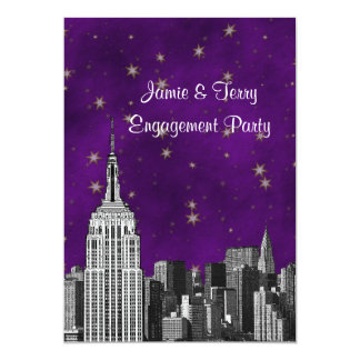 NYC ESB Skyline Etched Purple Starry Engagement V 13 Cm X 18 Cm Invitation Card