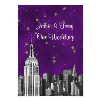 NYC ESB Skyline Etched Purple Starry Wedding 13 Cm X 18 Cm Invitation Card