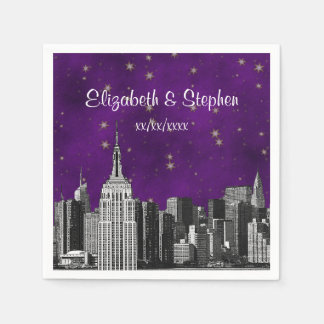 NYC ESB Skyline Etched Purple Starry Wedding Disposable Napkins