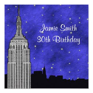 NYC ESB Skyline Silhouette Blue Starry BG Birthday 13 Cm X 13 Cm Square Invitation Card