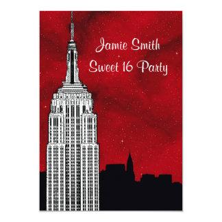 NYC ESB Skyline Silhouette Red Starry BG2 Sweet 16 13 Cm X 18 Cm Invitation Card
