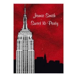 NYC ESB Skyline Silhouette Red Starry BG2 Sweet 16 Custom Invitations